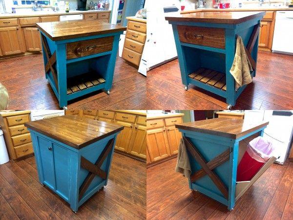 kitchen island with trash bin do it yourself home. Black Bedroom Furniture Sets. Home Design Ideas