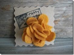 Absolutely adorable Mustard Scrappy Felt Flower Pin! Remember Mother's Day is right around the corner!