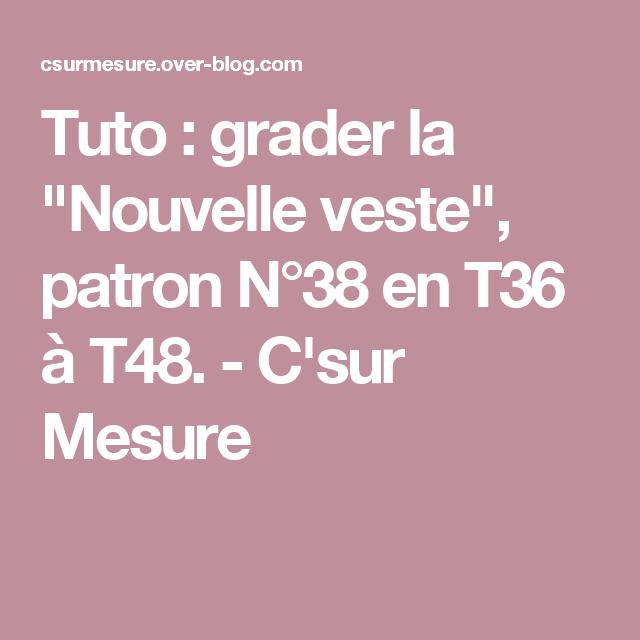 """Tuto : grader la """"Nouvelle veste"""", patron N°38 en T36 à ..."""