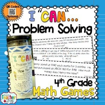 I CAN Problem Solving {4th Grade Math Game} Test Prep & Ma