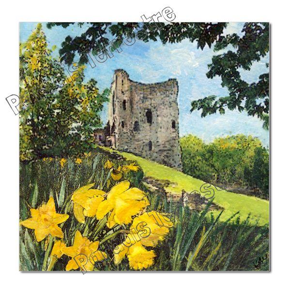 Luxury Greetings Card Textured Print - Perveril Castle, Paradis Terrestre - Quality Greeting Cards, by Kay Burton
