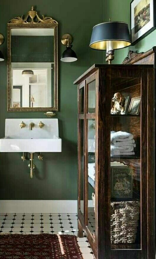 Pin By Hana On To Build A Home Vintage Bathrooms Green Bathroom Bathroom Design