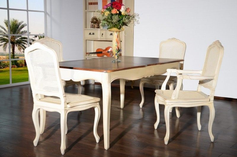 Essgruppe Vintage 5 Teilig Esstisch 4 Stuhle Ohne Armlehne