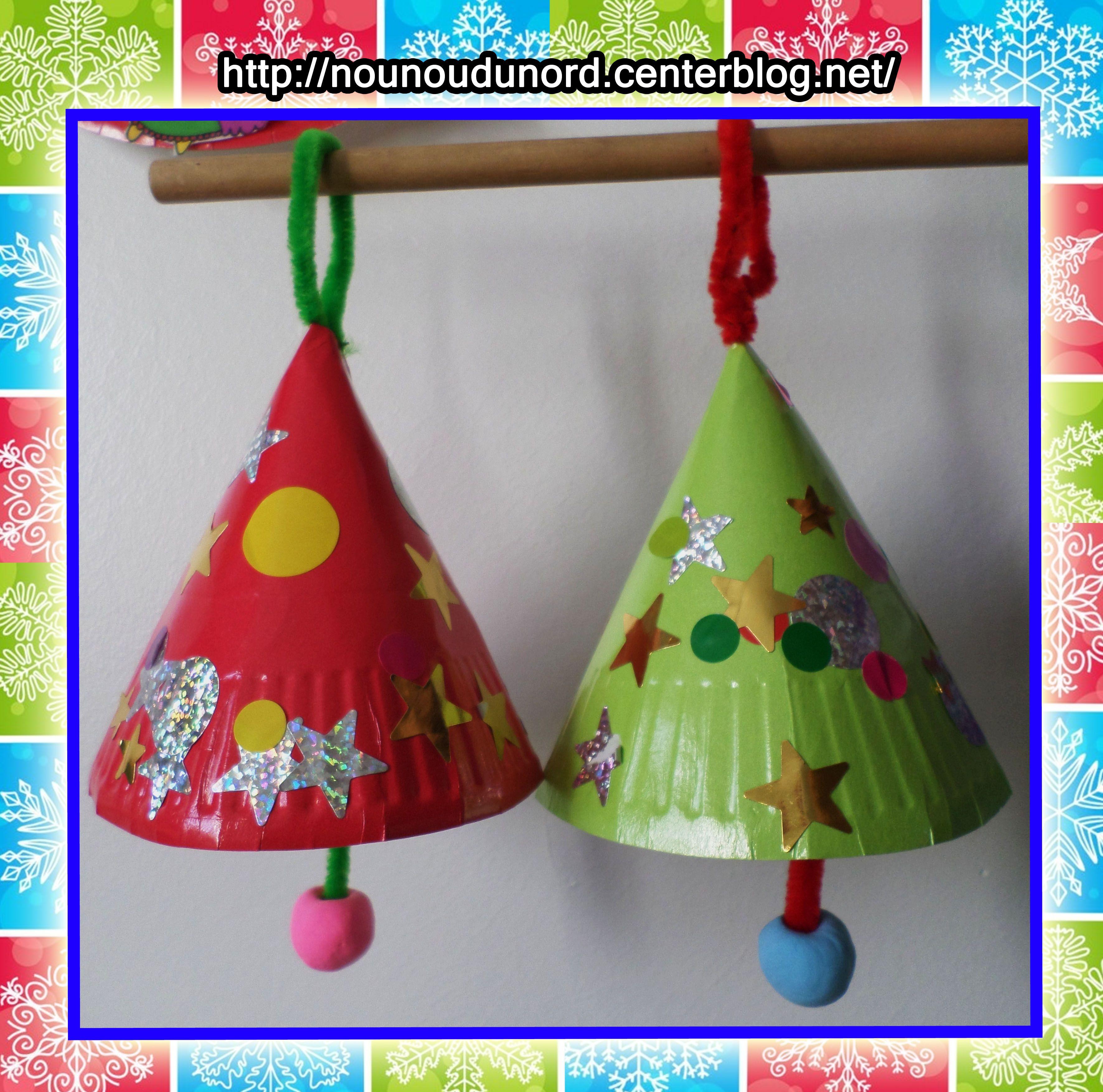 Cloches de no l r alis es avec des assiettes en carton for Weihnachtsideen 2014