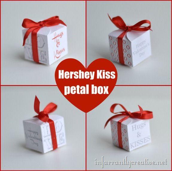 Valentine Hershey Kiss Box   Easy gifts, Kiss and Box