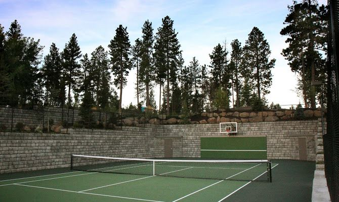 When The Owners Of This Washington Home Wanted To Install A Tennis Basketball Court They Turned Redi Rock Retaining Walls Their Hilly Property