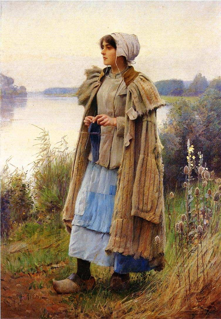 """Charles Sprague Pearce. American Painter, (1851-1914) ~ Knitting in the Fields - (This was pinned from """"Art"""" Community Board.)"""