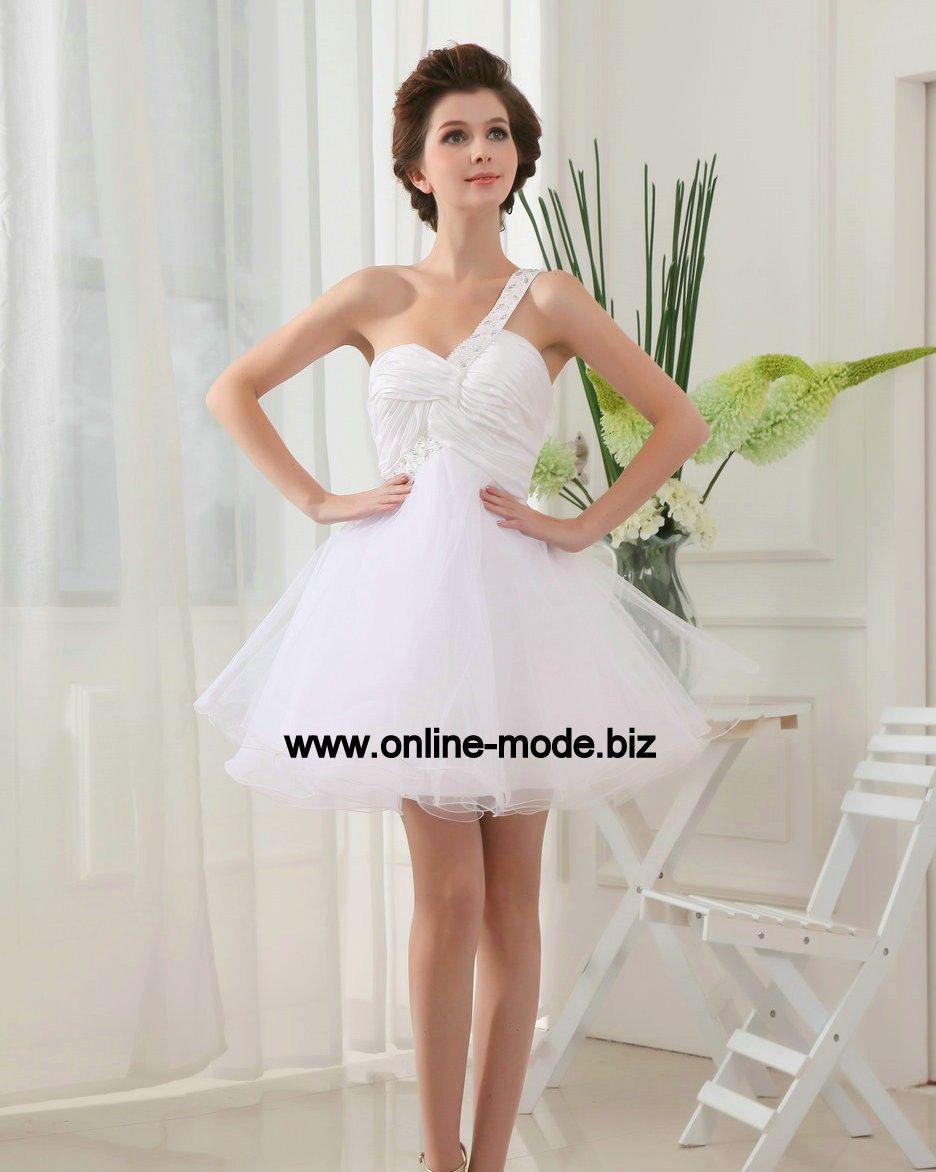 099979483cbb8d One Shoulder Cocktailkleid in Weiss mit Tüll   Abendkleider Weiß ...