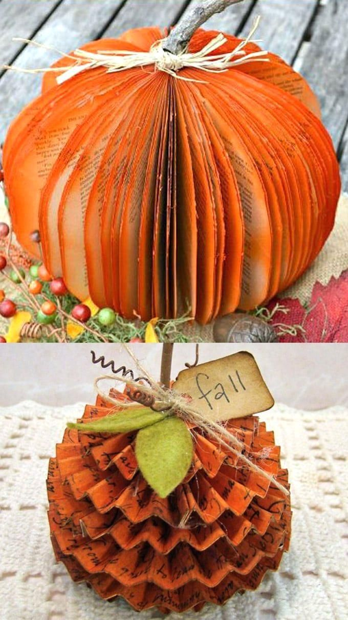 #fall  #falldecor  #autumn  #pumpkin  #pumpkindecorations  #papercrafts  #crafts  #crafting  #craftsforkids  #diy  #homedecor  #homedecorideas  #diyhomedecor #halloweendecorations  #halloween  #thanksgiving  #farmhouse  #farmhousestyle  #farmhousedecor  #kidscraft #pumpkin #decorations  20+ best DIY pumpkin decorations for Thanksgiving, Halloween & fall. How to up-cycle cans, jars, paper, fabric, or wood to make gorgeous pumpkins for free! - A Piece of Rainbow