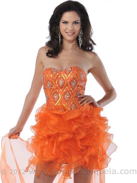 Short Orange Prom Dresses   Short Prom Dresses Ruffle Skirt Organza ...