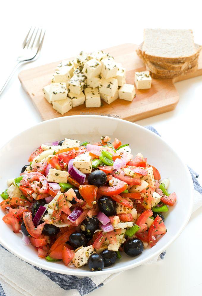Queso Feta Vegano Receta Ensalada griega Ensaladas y Recetas