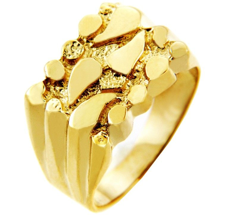 Solid Men S Gold Nugget Ring 8 9 Grams Solid 10k Or 14k Gold Gold Nugget Ring Gold Nugget Gold