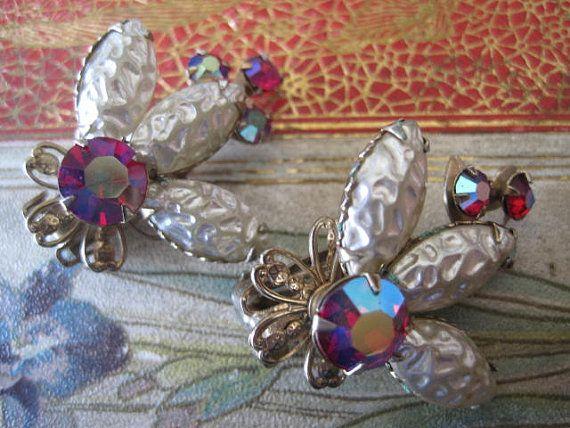 Vintage Baroque Pearl Red Rhinestone Earrings by VintagObsessions, $10.00