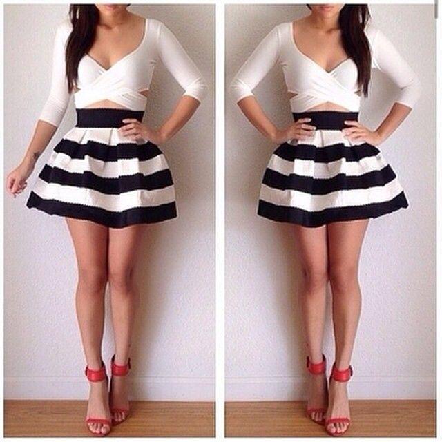 18d37e2c00 Black Apricot Striped High Waist Elastic Flare Skirt | Fashion ...