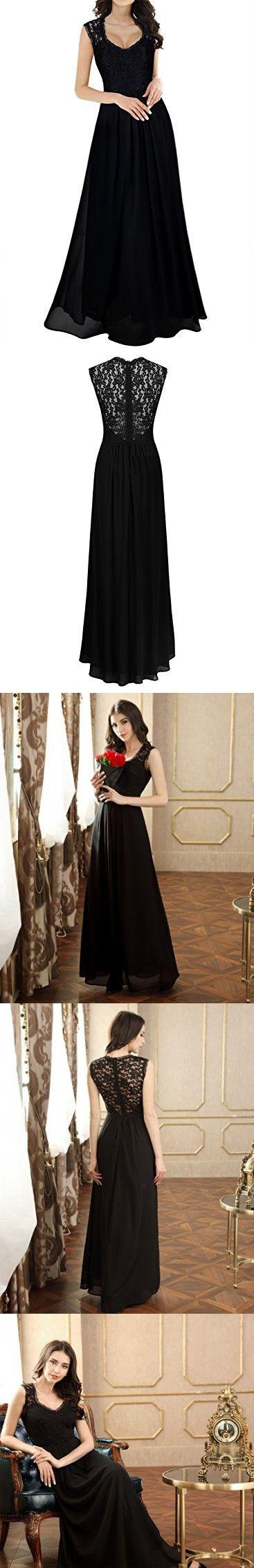 cbe2b26c3681 Miusol Women's Casual Deep- V Neck Sleeveless Vintage Wedding Maxi Dress