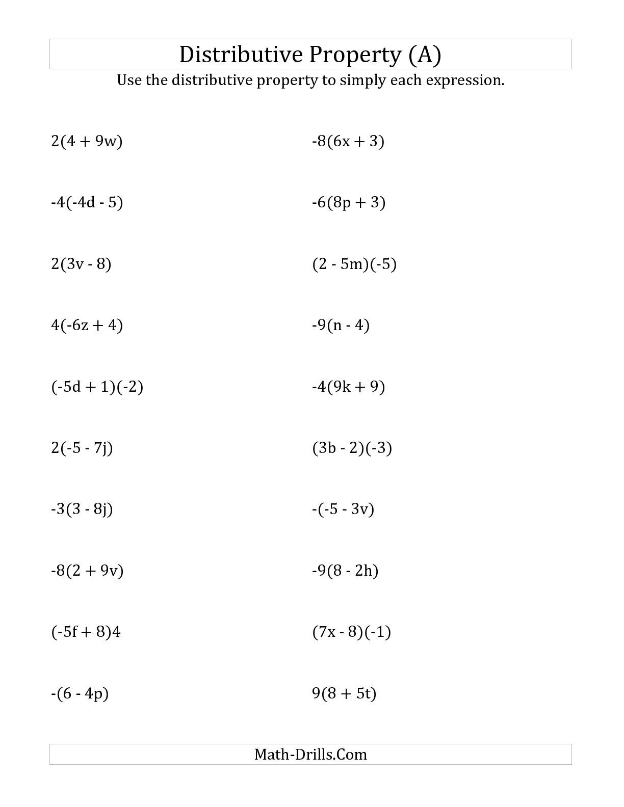The Using The Distributive Property Answers Do Not Include Exponents A Math Worksheet From