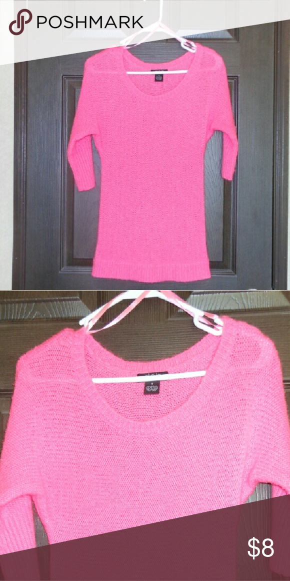 Deb Pink Sweater Deb hot pink three quarter length sweater. Worn about 2 times. Size medium, but fits more like a small. Price firm. Deb Tops
