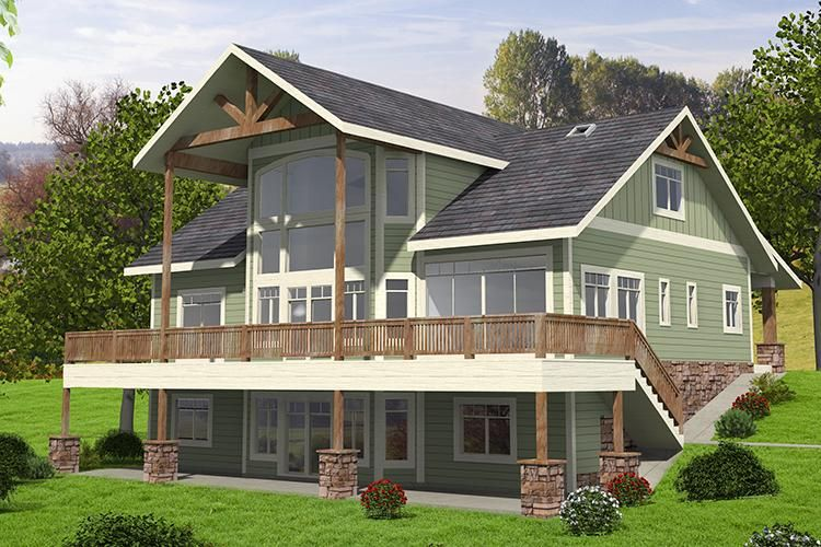 House Plan 039 00662 Lake Front Plan 4 603 Square Feet 5 Bedrooms 3 5 Bathrooms Craftsman Style House Plans House Front Modern Farmhouse Plans