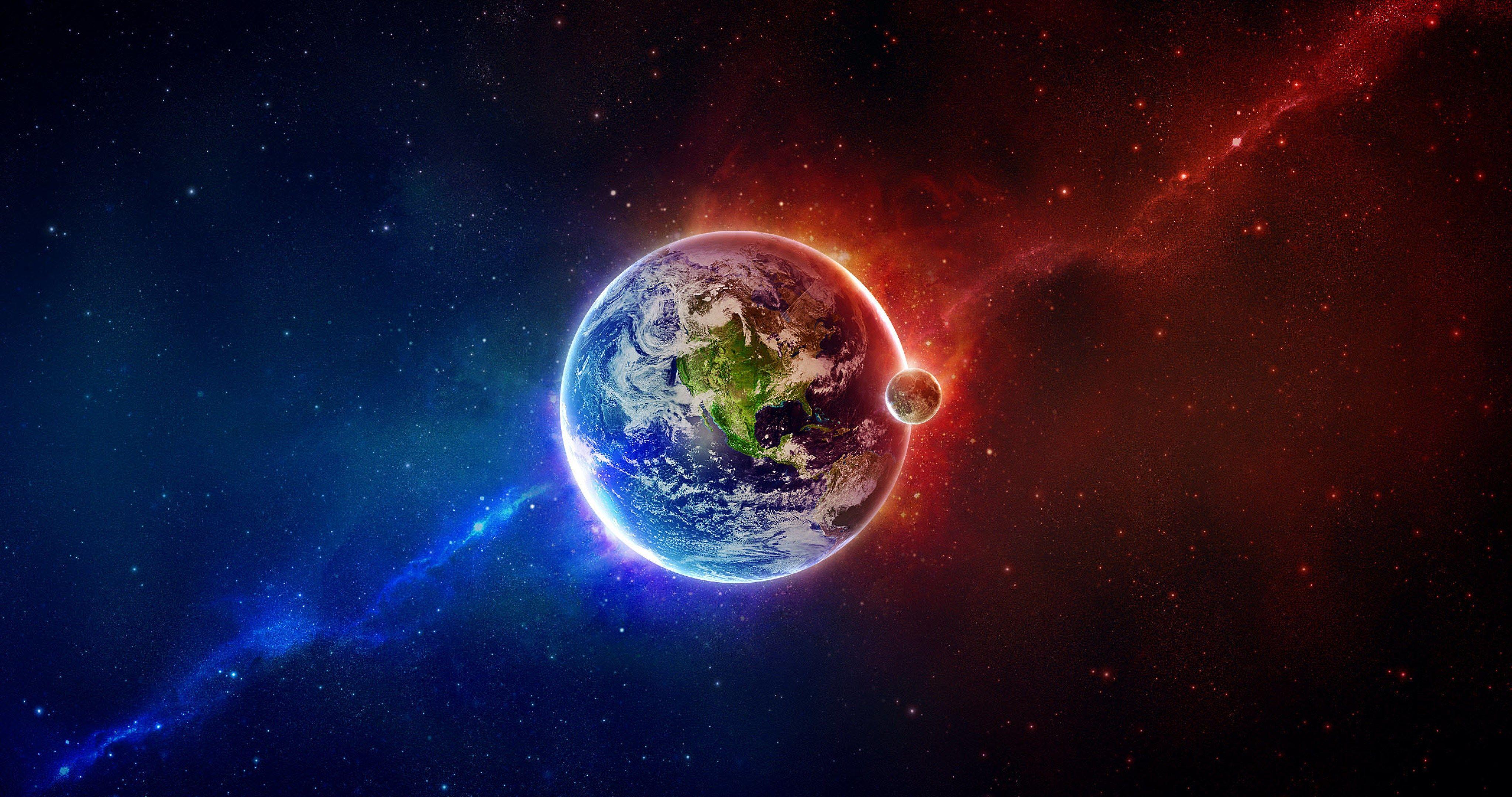 Blue Red Earth 4k Ultra Hd Wallpaper Galaxy Wallpaper Earth