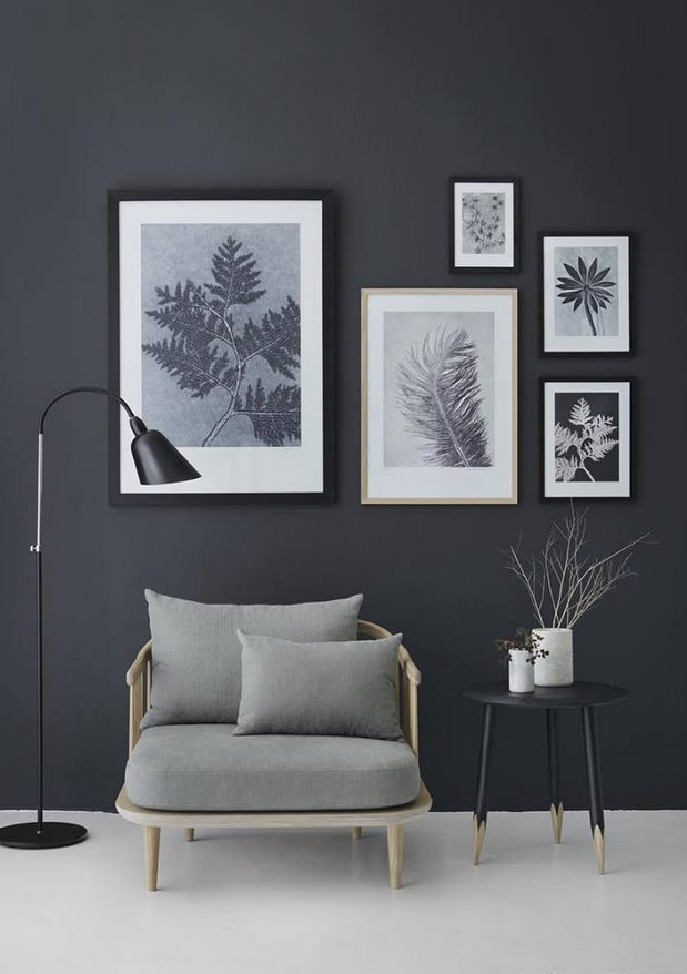 living room art prints%0A Skillful use of art prints to invigorate a dark grey wall     that nordic  feeling    the biggest trends of autumn winter