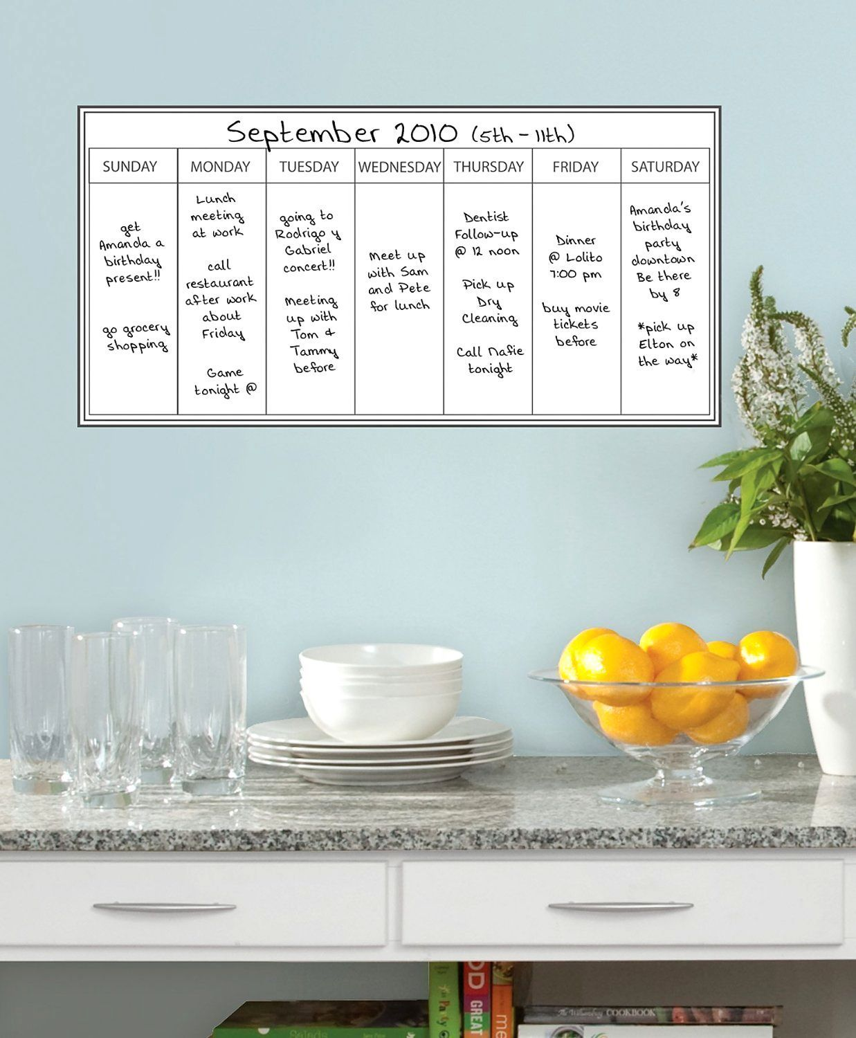 White This Monthly Week Plan Calendar Wall Sticker for Office Home Decoration