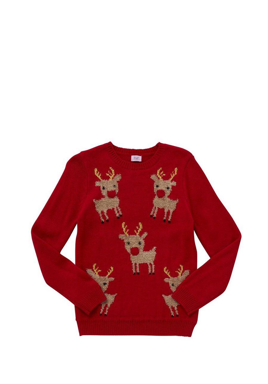 Clothing at Tesco   F&F Flashing Reindeer Christmas Jumper > knitwear > Knitwear > Kids
