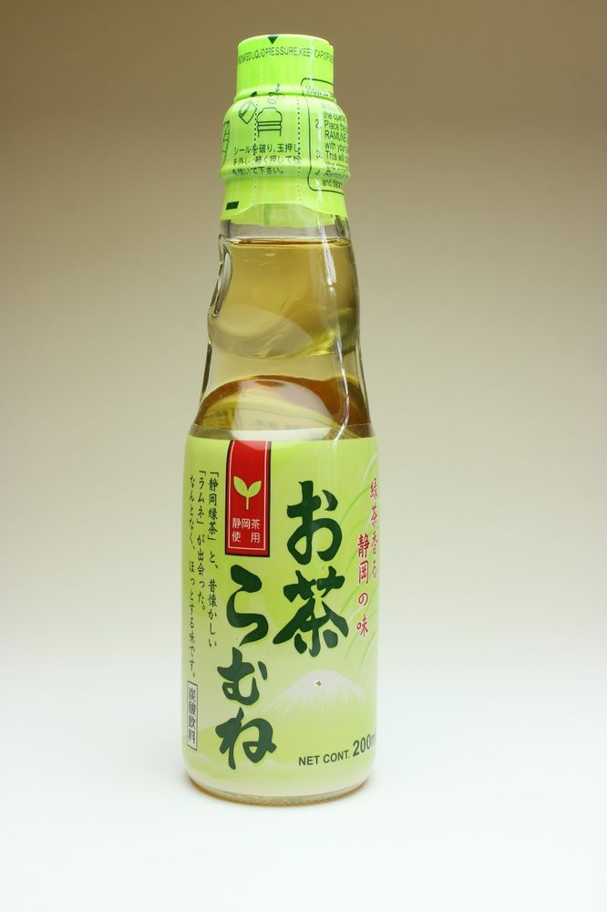 Japanese Green Tea Flavored Ramune Carbonated Marble Soda Soft Drink