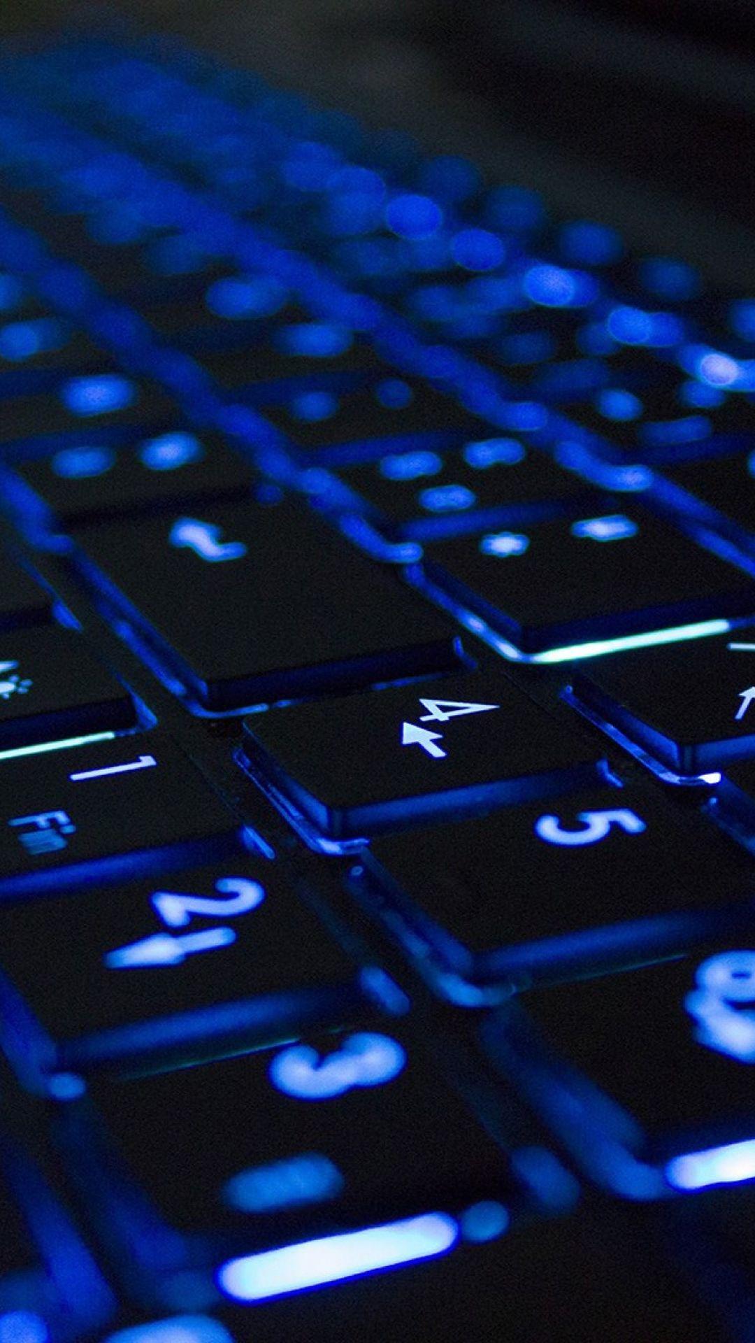 Blue Neon Illuminated Computer Keyboard Iphone 6 Plus Wallpaper Wallpaper Iphone Neon Computer Keyboard Hi Tech Wallpaper