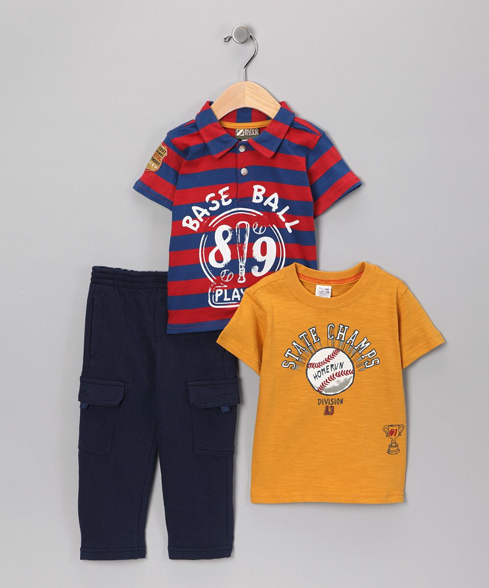 Red & Blue Baseball Stripe Pants Set Infant Red and