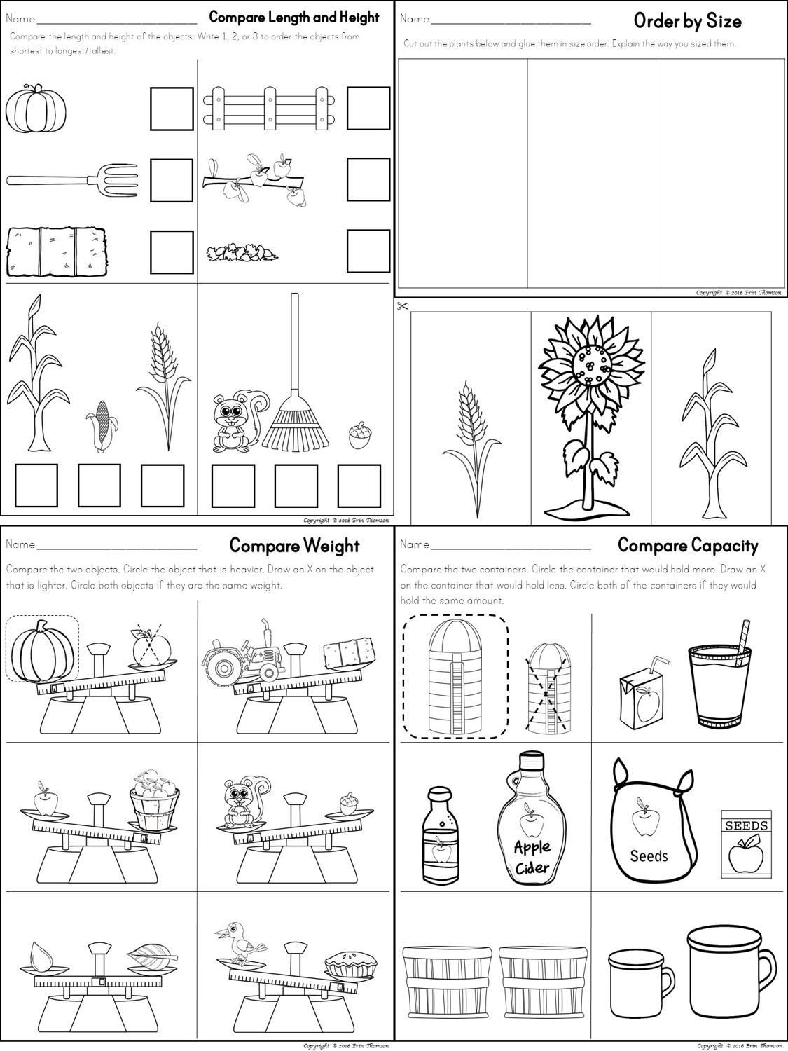 Capacity Worksheets For Kids