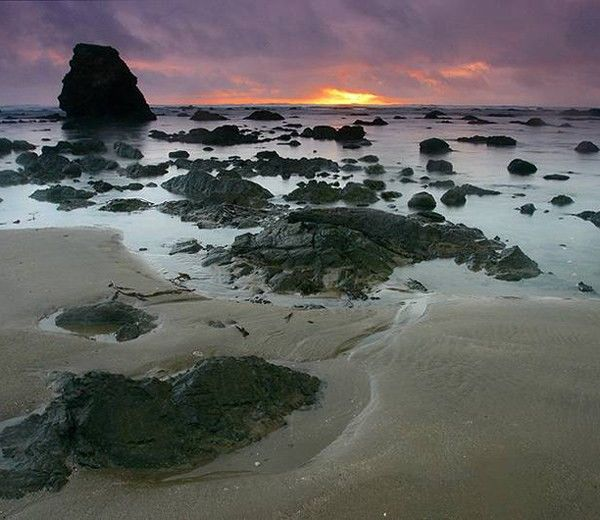 ozette loop olympic national park wa sand point at sunset