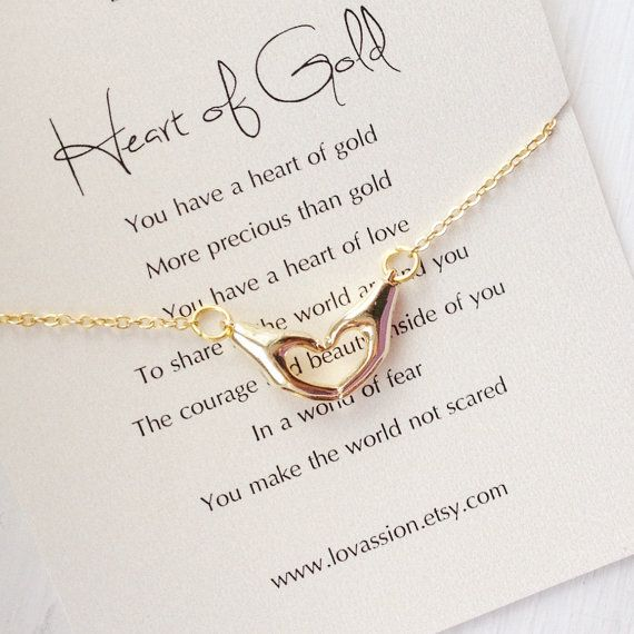 Gift For Mom Gift For Teacher Gold Heart Hands Necklace Etsy Inspirational Necklace Heart Of Gold Quotes Hand Necklace