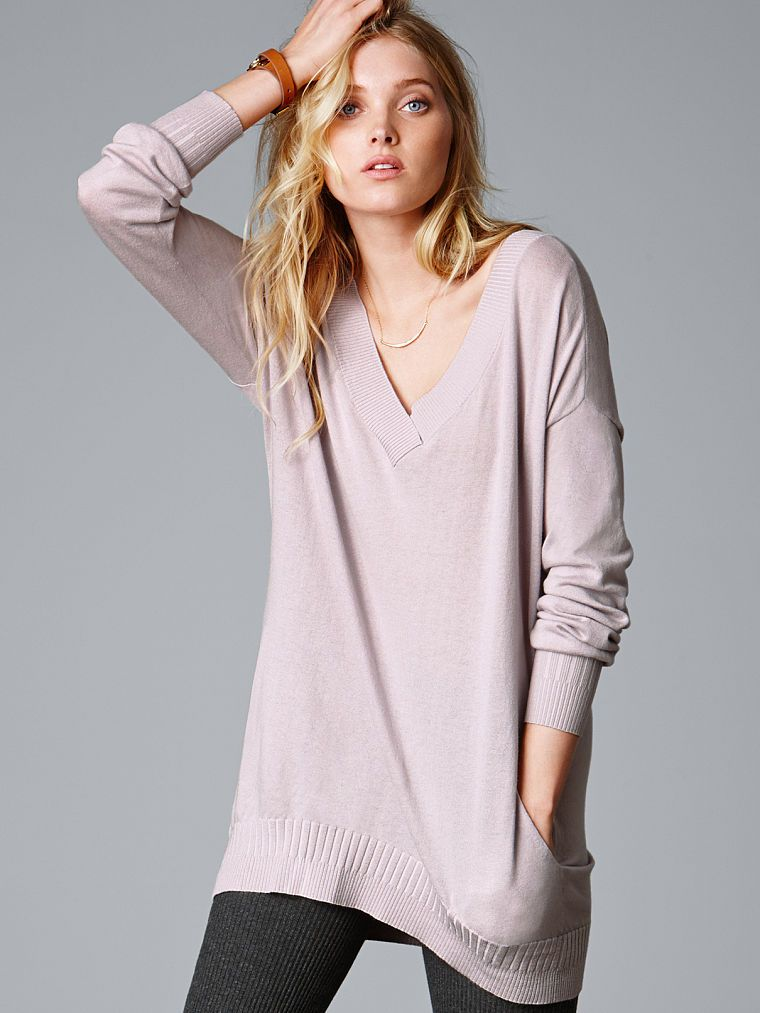 Double V-neck Tunic Sweater - A Kiss of Cashmere - Victoria's ...