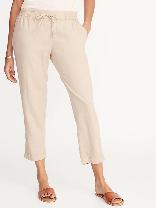 cb8af5ca8a7f05 Mid-Rise Linen-Blend Straight-Leg Cropped Pants for Women in 2019 ...