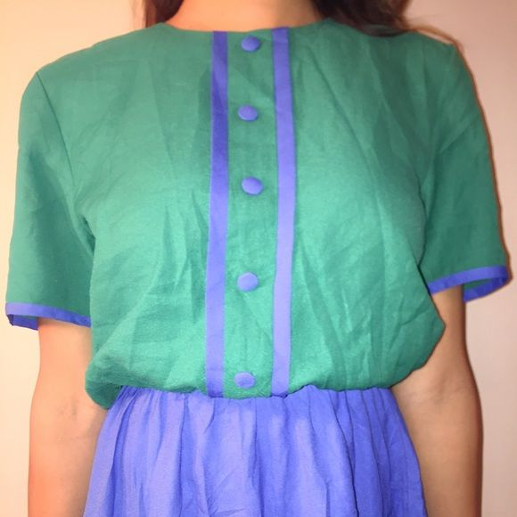 Vintage 1950's style Dress Blue, green, midi, 1950's dress Vintage Dresses Midi