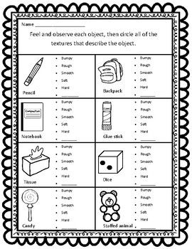 Sort By Property Texture Ccss Aligned Worksheets Matter