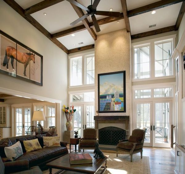 High Ceiling Living Room Design | 10 High Ceiling Living Room Design Ideas    This Is A Great Option For High Ceilings In My Future House, Creates  Warmth And ...