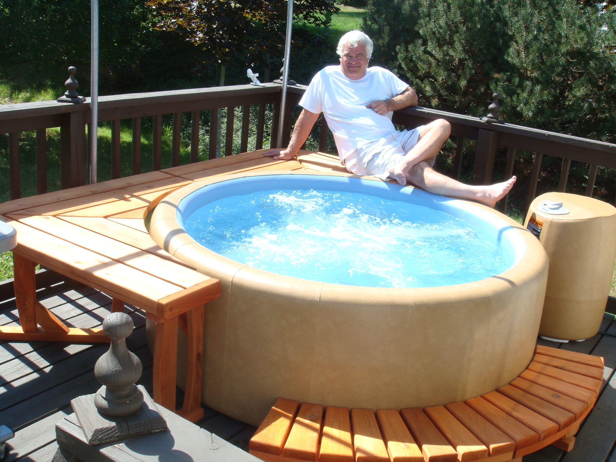 T220 Softub With Part Of Square Cedar Surround