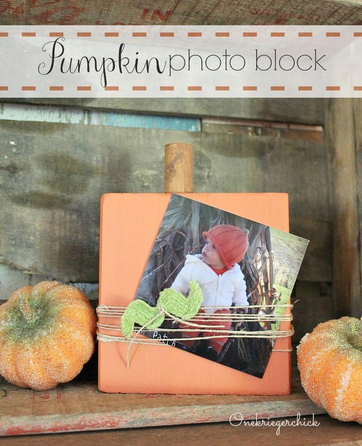 Wood Block Pumpkin {photo holder}