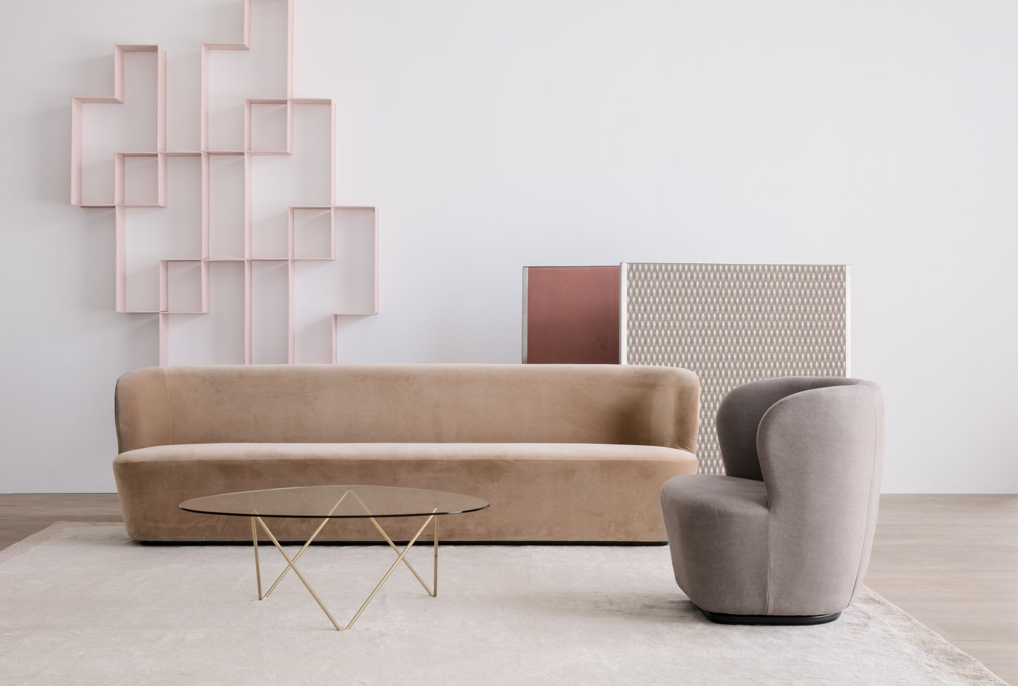 GUBI Stay Sofa and Lounge Chair Pedrera Coffee Table Dedal