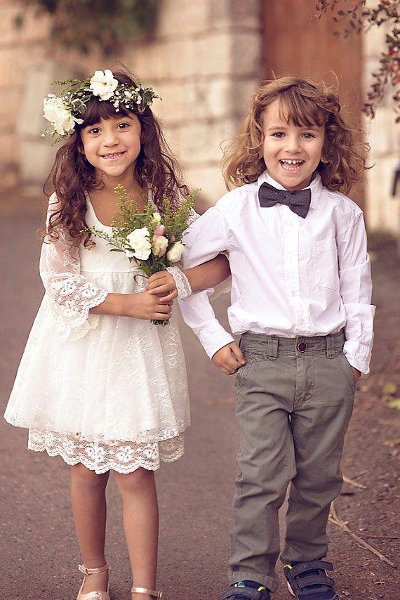 Boho-Chic Mädchen Kleid, erste Kommunion Kleid, Blumenmädchen Off ...