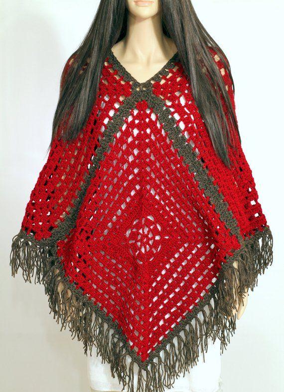 Vintage Granny Square Poncho Crochet Poncho Pattern PDF Cape Pattern Crochet Shawl Women's Poncho Easy Crochet Pattern Crochet Cape Pattern #grannysquareponcho
