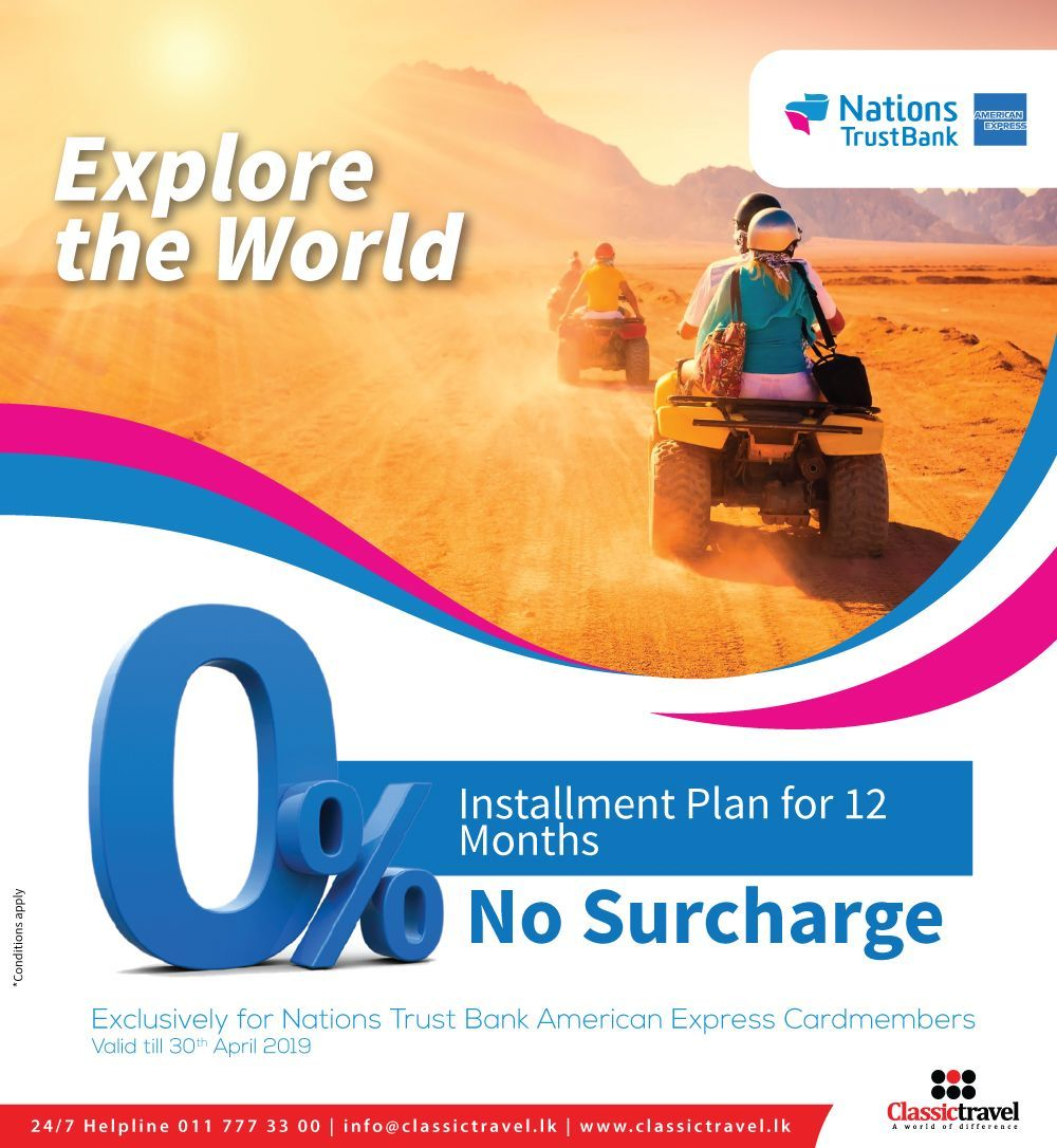 Travel On 0 Installment Plan For 12 Months With Nations Trust Bank With No Surcharge Call Us 0117773300 Trav How To Plan Travel Packages Holiday Packaging