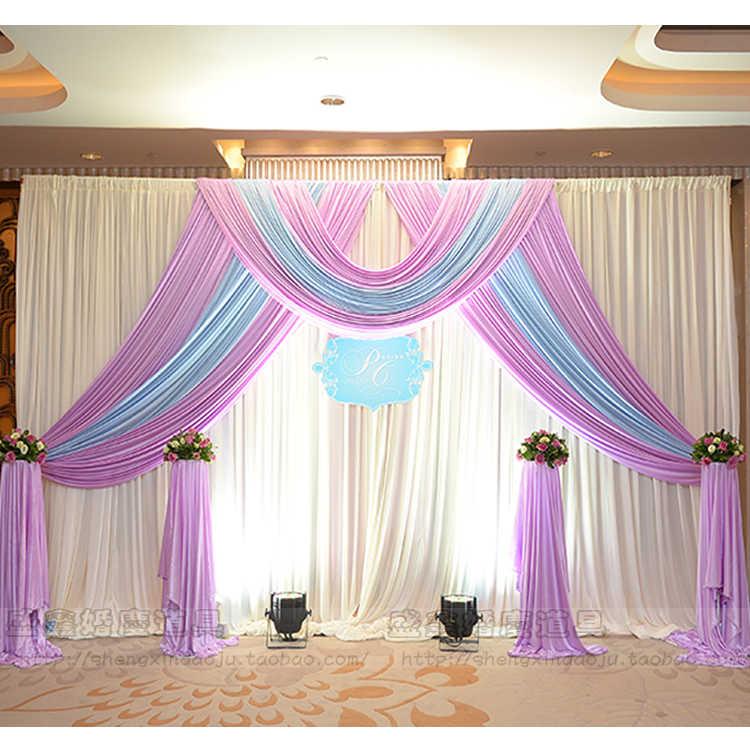 Wedding Altar Backdrops: White Ice Silk Wedding Backdrop Curtains Simple Design