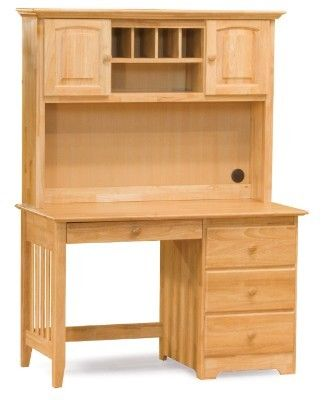Windsor Desk With Hutch Natural Maple