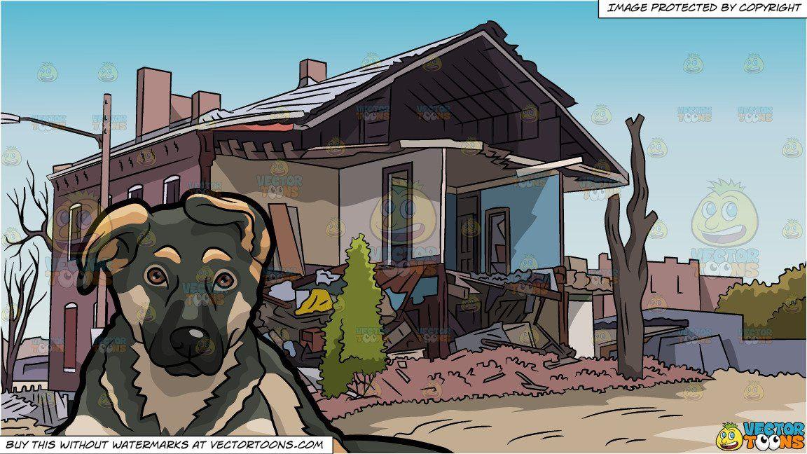 Clipart Cartoon A Dark German Shepherd Puppy And A