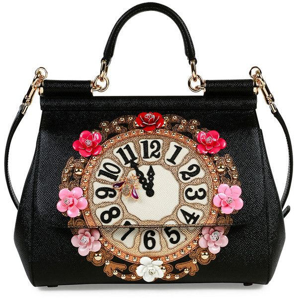 Dolce   Gabbana Miss Sicily Medium Leather Clock Satchel Bag (5 100 AUD) ❤  liked on Polyvore featuring bags, handbags, black multi, leather flower  purse, ... 2996230225