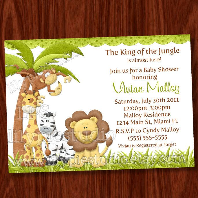 King of the jungle baby shower invitation printable digital file king of the jungle baby shower invitation by lilypiestudio on etsy filmwisefo Choice Image