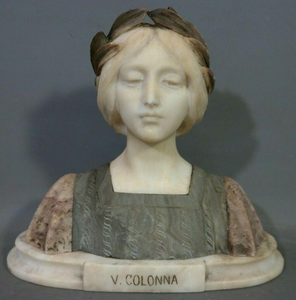 Antique Art Nouveau Alabaster Carved Marble Colonna Lady Bust
