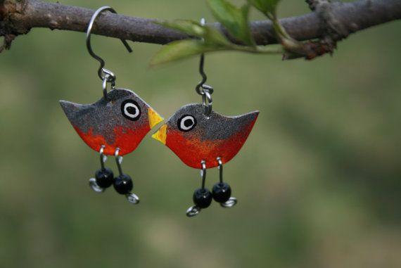 Cute handpainted robin earrings stainless steel by HorakovaDesigns, $17.00